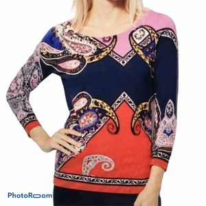 Talbots Multi Colored Paisley Crewneck Sweater